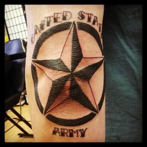 Nautical star tattoo on elbow