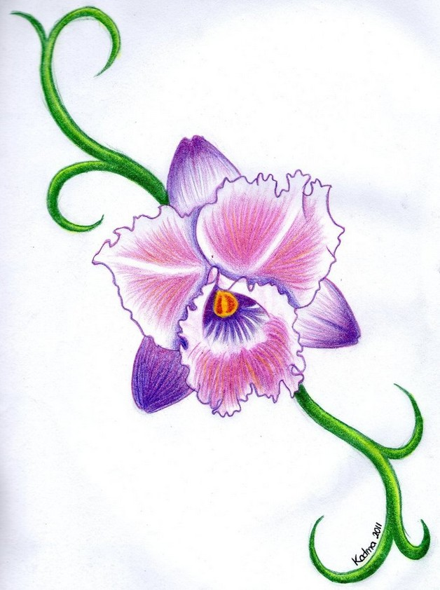 Orchid Flowers Tattoos Sample
