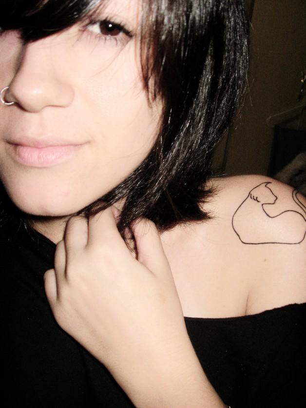 outline cat tattoo on back shoulder all tattoos for men