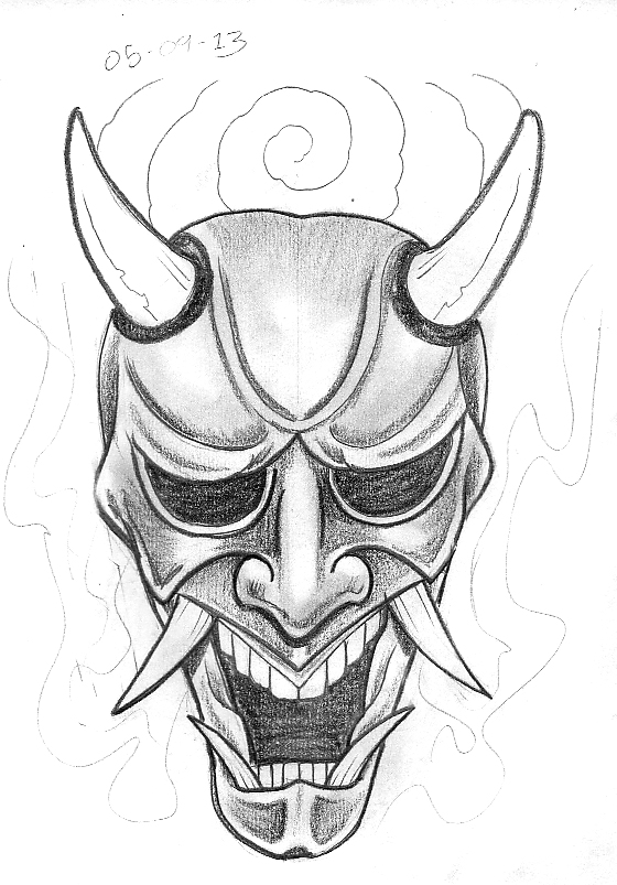 outline hannya mask and flowers tattoo sample photo - 1