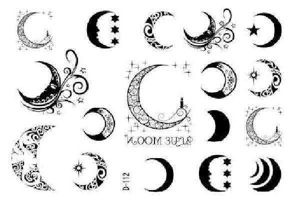 outline star and moon tattoo design. Black Bedroom Furniture Sets. Home Design Ideas