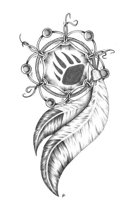 paw print dream catcher tattoo on back photo - 1