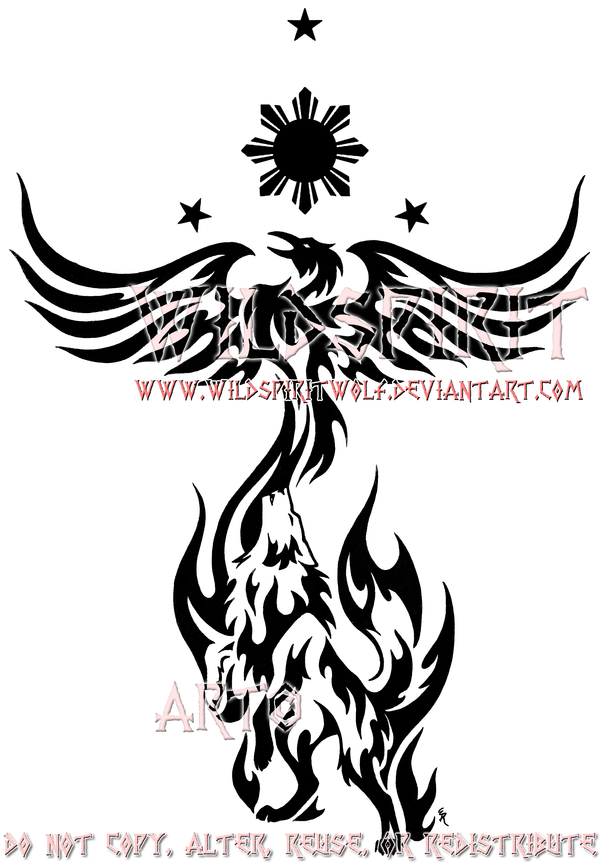 philippine sun stars phoenix and wolf tattoo designs photo - 2