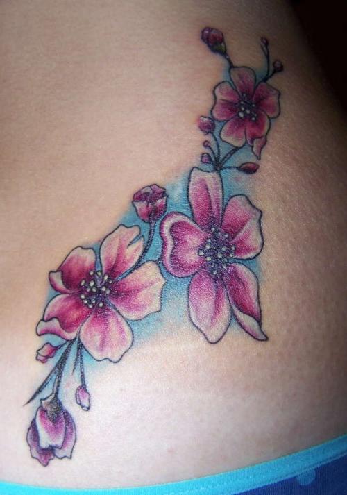 pink cherry blossom flowers tattoo design photo - 2