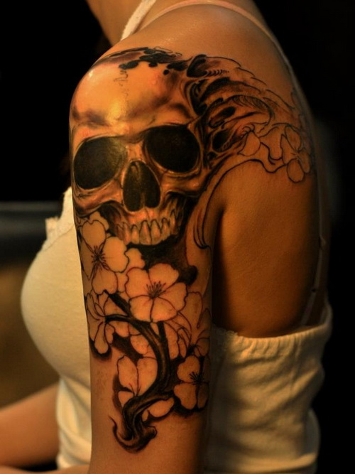 Pink flowers and skull sleeve tattoos for Skull and flowers tattoos