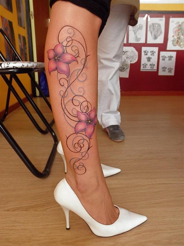 pink flowers leg tattoo designs photo - 1