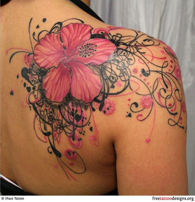 foto de Pink ink hibiscus flowers tattoo on foot