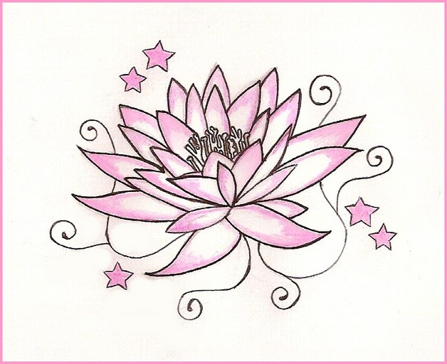 pink lotus flower and green stars tattoo design photo - 1