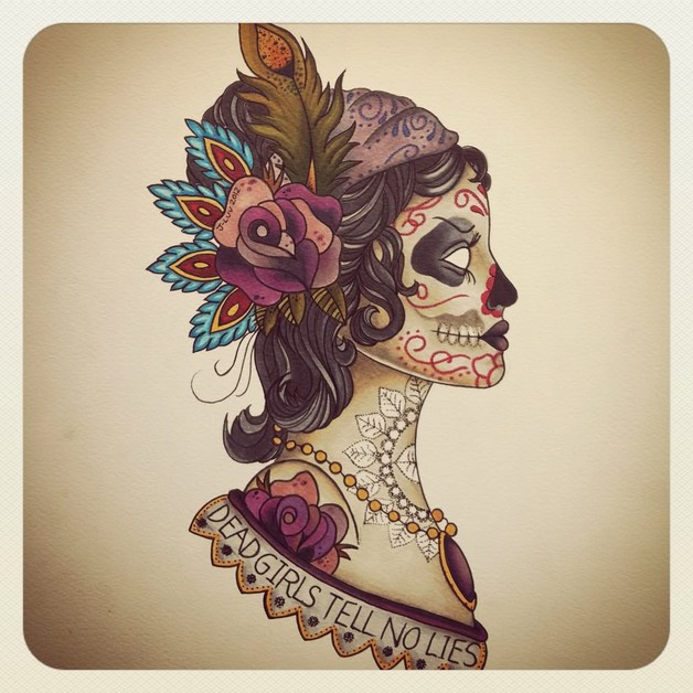 pretty woman with dream catcher tattoo design photo - 2