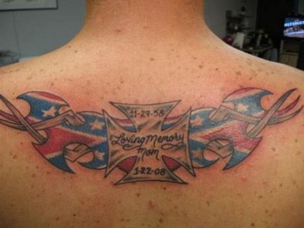 rebel flag star tattoo on back photo - 2