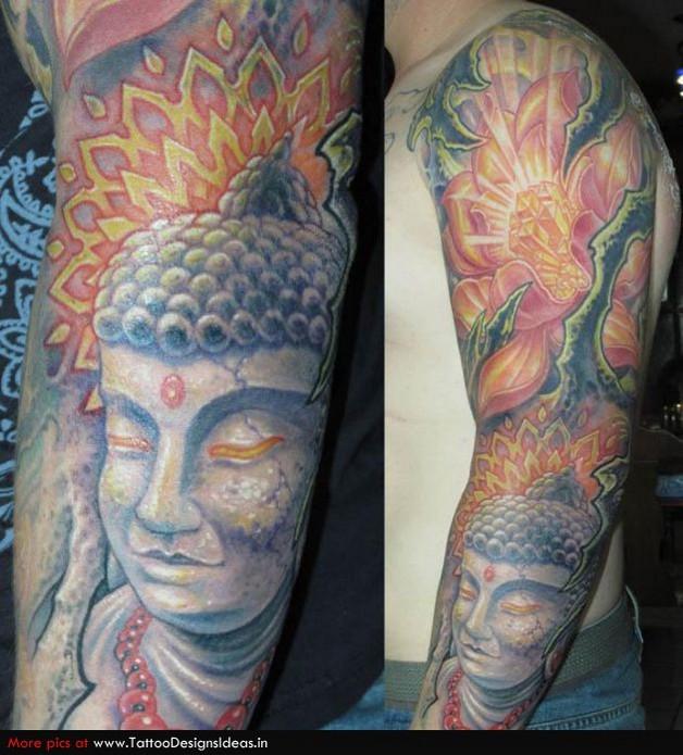 religious buddhist tattoo design on sleeve photo - 1