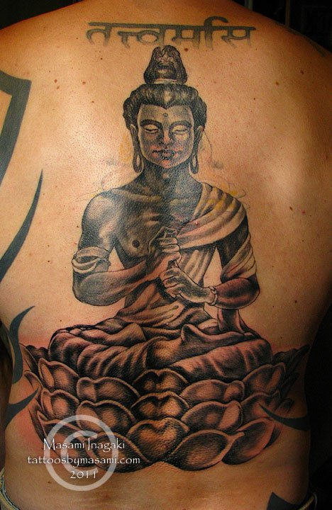 religious buddhist tattoo on back for men photo - 1
