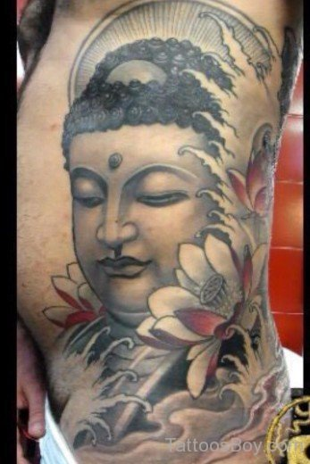 rib side buddhist tattoo photo - 1