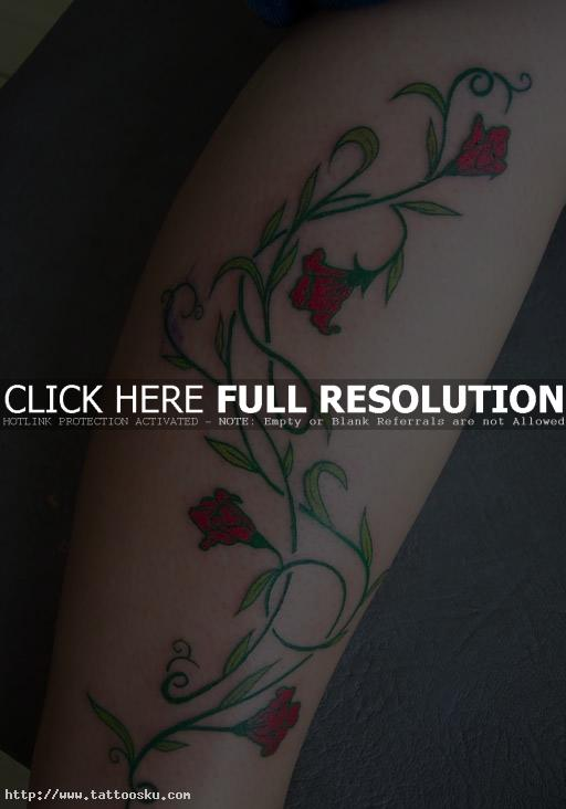 right leg flowers vine tattoo designs photo - 2