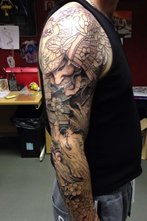 samurai buddhist sleeve tattoo design photo - 1