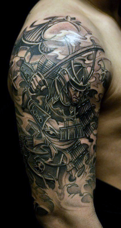 samurai buddhist sleeve tattoo design photo - 2