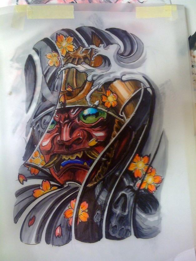 samurai buddhist tattoo design photo - 1