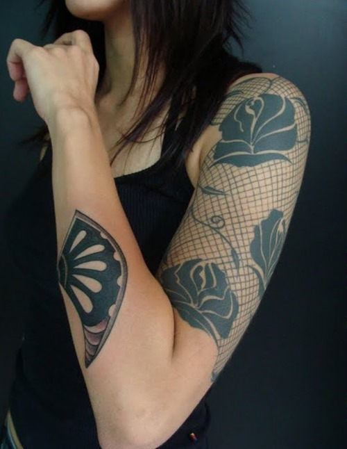 shoulder lace with flowers tattoos for women photo - 1