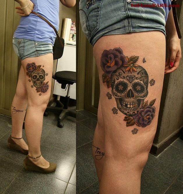 skull matryoshka and flowers tattoo picture photo - 1