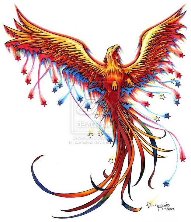 sleeve of japanese flowers and phoenix tattoos photo - 1