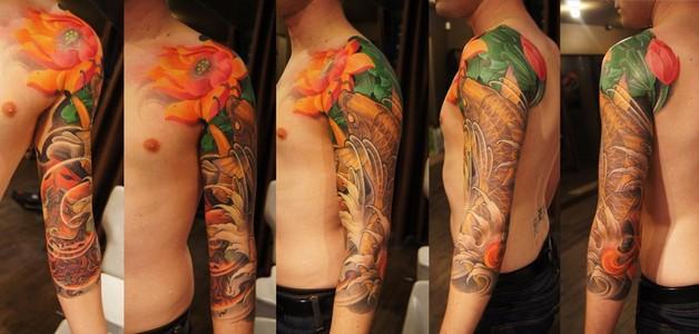 sleeve of japanese flowers and phoenix tattoos photo - 2