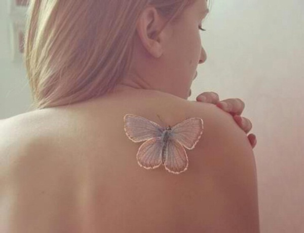 small butterly and little stars tattoos on waist photo - 1
