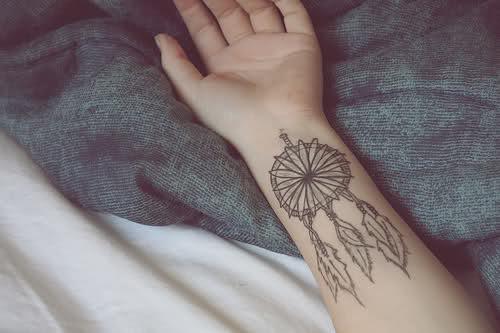 small dream catcher tattoo on wrist photo - 1
