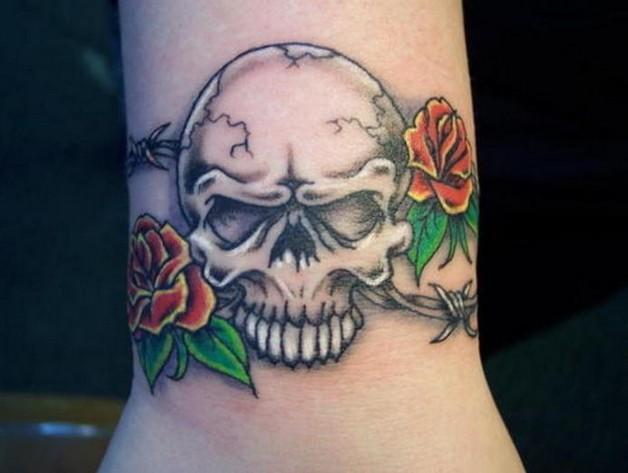 small girly skull and star tattoos photo - 2
