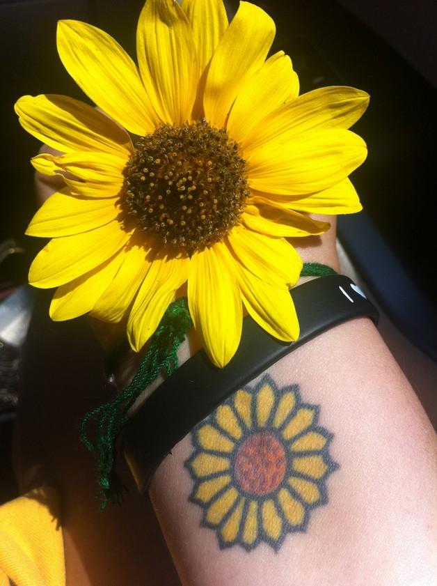 Small Sunflower Tattoo On Hip