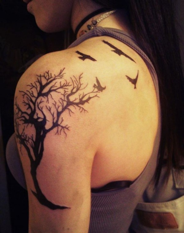 star birds watercolor tattoo on back neck photo - 1