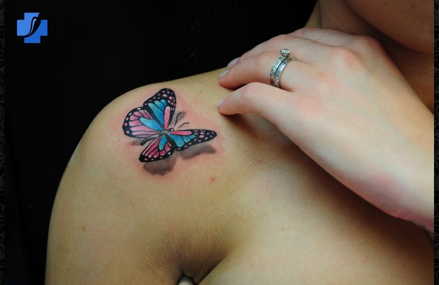 star flag tattoo design on shoulder photo - 1