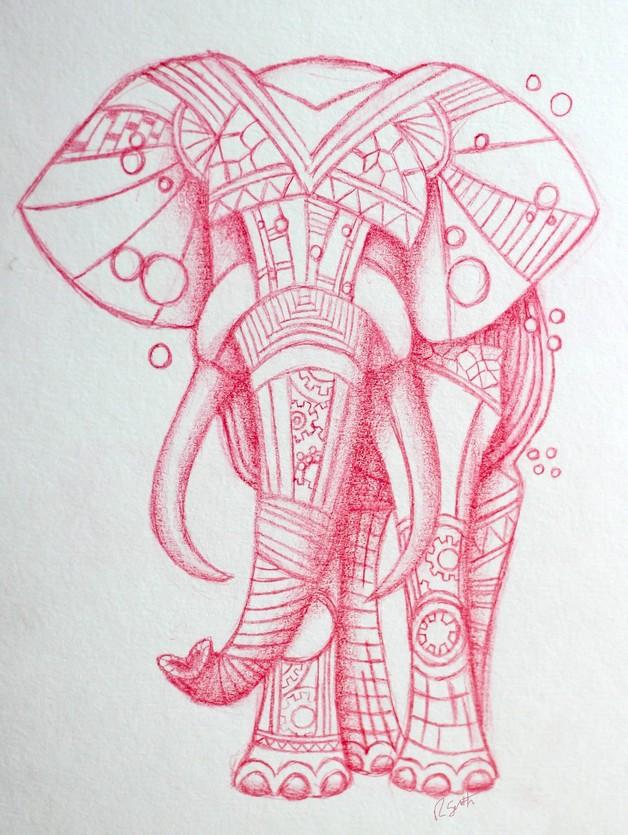 starry tribal elephant tattoo model. Black Bedroom Furniture Sets. Home Design Ideas