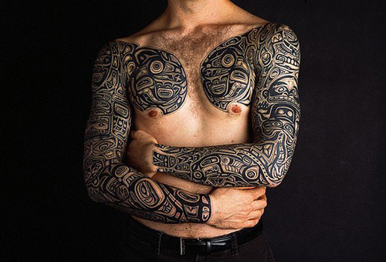 Stars wars sleeve and chestpiece tattoos