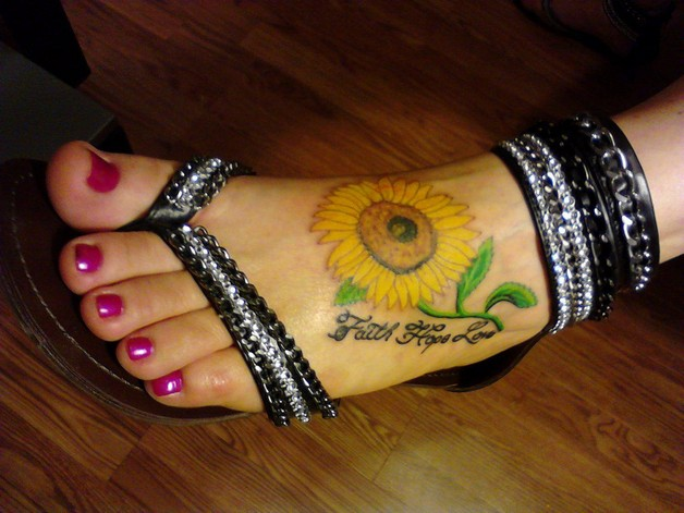 sunflower chain tattoo for foot photo - 1