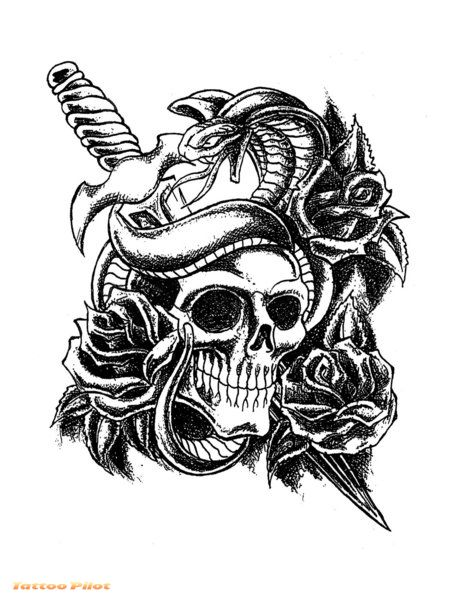 sword wings and flowers tattoos print photo - 1