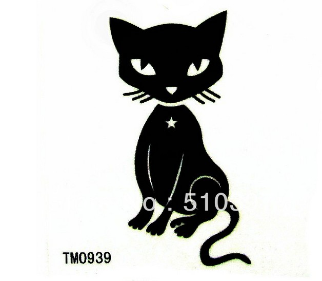 temporary cat waist tattoo photo - 2
