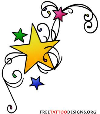 tiny stars from phoenix wings tattoo design photo - 1