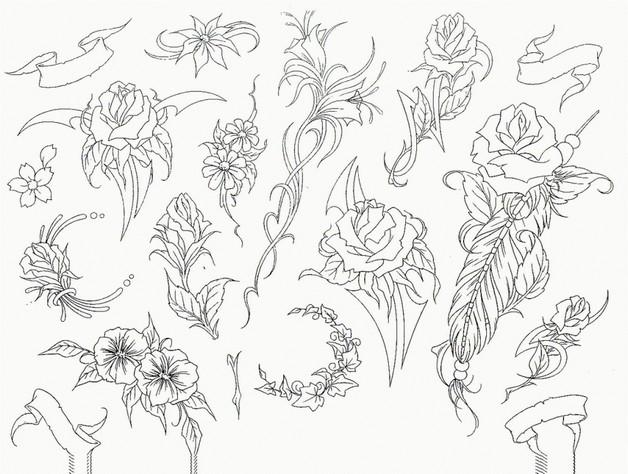 traditional flowers tattoo sheet photo - 2