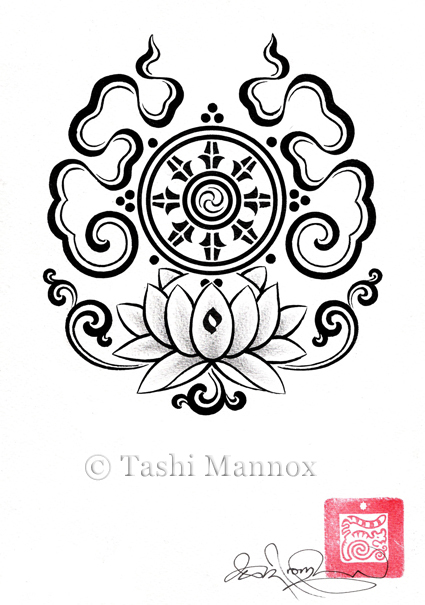 tremedous buddhist lotus tattoo design photo - 2