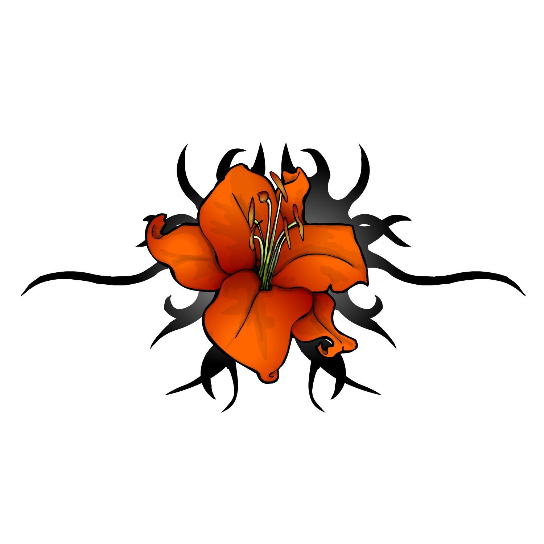 Tribal Lily Flowers Tattoo Design