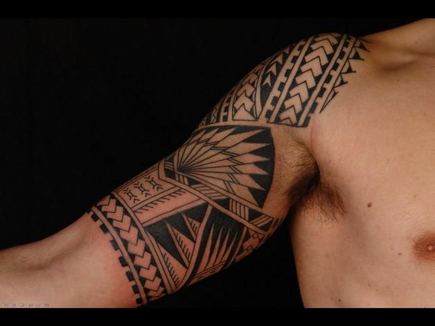 tribal pitbull dog tattoo on chest photo - 1