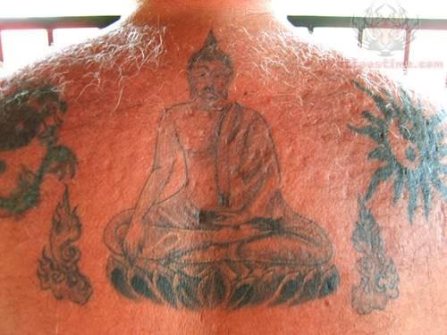 upper back buddhist tattoo photo - 2