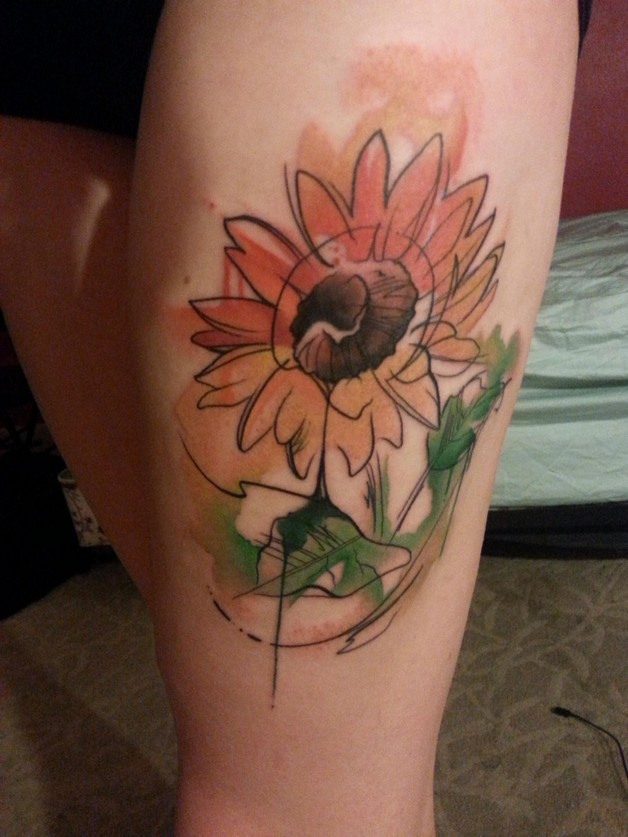 watercolor sunflower tattoo photo - 1