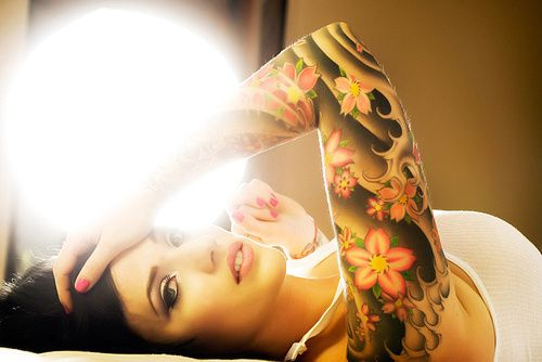 waves stars blossoms shoulder tattoos photo - 1
