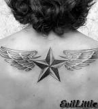 winged nautical star and skull leg tattoo design photo - 2