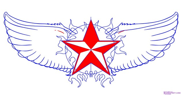 winged nautical star tattoo on hip photo - 2