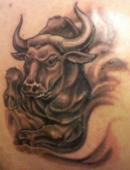 zodiac libra sign and stars tattoo on upper back photo - 1
